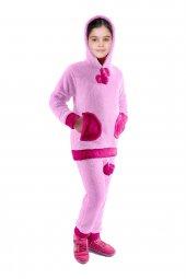 Kürklü Pijama Takımı Kapüşonlu Polar Kız Çocuk Kıyafeti