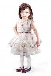 Krem Kız Çocuk Prenses Elbisesi