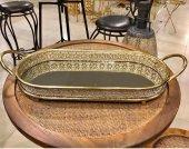 Sadehomedecor Luckyart Gold İşlemeli Aynalı 1 Adet (58 Cm) Tepsi