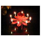 Kendinden Açılan Müzikli Sihirli Pasta Mumu Romantik Gül Yaprağı
