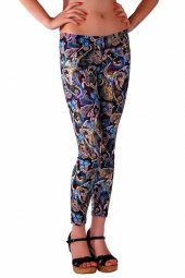 Redhotbest Paisley Pattern Fashion Tight Şal Desenli Tayt