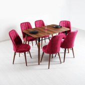 Evform Yakut 6 Sandalyeli Mutfak Masası Salon Yemek Masa Takımı