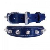 Doggie Topuzlu Deri Boyun Tasması Mavi 2,5*50 Cm M...