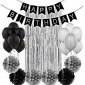 Siyah Gümüş Yaş Doğum Günü Seti Yaş Partisi