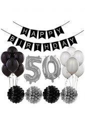 Siyah Gümüş 50 Yaş Doğum Günü Seti 50 Yaş Partisi