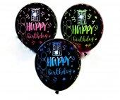 Fosforlu Happy Birthday Balon Neon Happy Birthday Balon Işıltılı