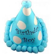 Karton Doğum Günü Şapkası Ponponlu Külah Şapka Birthday Boy Şapka