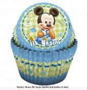 24 İlk Yaşım Mickey Mouse Muffin Kek Kalıbı Miki Maus Kek Kalıbı