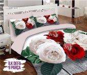 Alaca 3d Çift Kişilik Uyku Seti White Rose