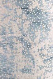 Mavi Tonlarında Mozaik Desenli Modern Mutfak Halısı