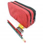 Kalem Çantası 2 Bölmeli Mbag Faber Castell Siyah, Kırmızı Kalem, Silgi Ve Kalemtıraş Hediyeli