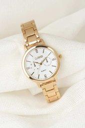 Gold Metal Kordonlu Beyaz Renk İç Tasarımlı Yeni Sezon Clariss Marka Bayan Kol Saati