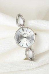 Silver Renk Metal Taşlı Kordonlu Yeni Sezon Beyaz Renk İç Tasarımlı Bayan Clariss Marka Kol Saati
