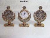 Hilal Allah Ve Muhammed Lafızlı Üçlü Dekoratif Saat