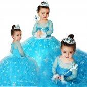 Kız Çocuk Kostümü Tarlatanlı Frozen Simli Kostum Uzun Kollu