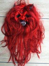 Kırmızı Saçlı Şeytan Maskesi Lateks