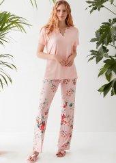 Catherines 1431 Bayan Kısa Kol Pijama Takımı Pembe