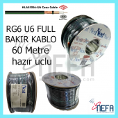 Full Bakır Uydu Anten Kablosu 60metr Next & Nextstar Rg6 U6 Siyah