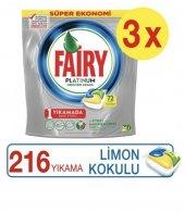 Fairy Platinum Bulaşık Makinesi Deterjanı Kapsülü Limon Kokulu 72 Yıkama X3