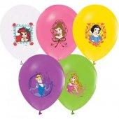 Balonevi Balon Prenses Baskılı Pastel Renk 4+1 100 Lü