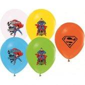 Balonevi Balon Superman Baskılı Pastel Renk 4+1 100 Lü