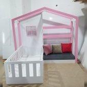 Montessori Yatak Sitil Genc Odası Beyaz Pembe Komple Mdf Dir İmalattan Satış