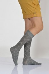 Zümrüt Desen Bambu Erkek Soket Çorabı Gri E Art217