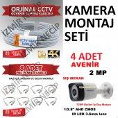 2 Mp Fullhd 4 Adet Kamera 100mt Kablo 8 Ad Hazır Bnc Seti Ekonomi