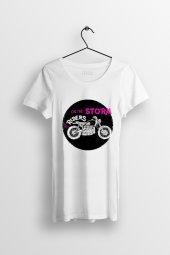 Rider On The Storm Baskılı Yırtmaçlı Oversize Kadın Tshirt
