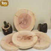 Sunum Tahtası, Sunum Tabağı 25 30 Cm Çaplarında Verniksiz Doğal Zımparalı Katran Ağacından