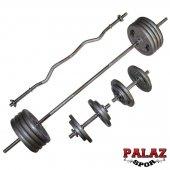 120 Kg Demir Döküm Halter Dambıl Set, 2 Kısa + Z 120 Cm + 160 Cm Barlı