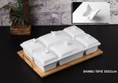 Bambu Tepsili Porselen 6 Lı Kahvaltılık Kelebek...