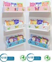 Kitaplık Duvar Rafı Çocuk Bebek Odası Montessori Ahşap (3 Ad)