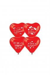 Seni Seviyorum Baskılı Kırmızı Kalp Balon