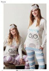 Feyza 3366 Bayan Uzun Kollu Kedicik Baskılı Pijama Takımı