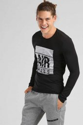 Tommy Life Air Plus Baskılı Siyah Erkek Sweatshirt