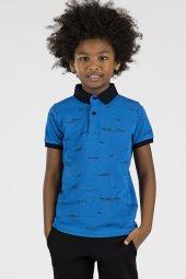 Tommy Life Baskılı Mavi Polo Yaka Çocuk Tshirt