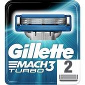 Gillette Mach3 Turbo Yedek 2 Li Tıraş Bıçağı...