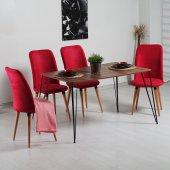 Evform Stork Kırmızı Taytüyü 4 Sandalyeli Tel Ayaklı Masa Takımı
