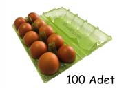 10 Lu Plastik Yeşil Şeffaf Yumurta Viyolü (100 Adet)
