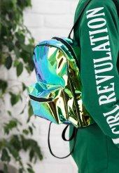 Fede Yeşil Rugan Hologram Sırt Çantası