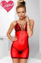 Kadın Kırmızı Dantelli Seksi Bayan Fantazi İç Giyim Gecelik Babydoll