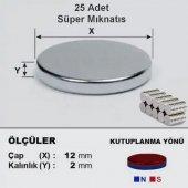 25 Adet 12mm * 2mm Yuvarlak Süper Güçlü Mıknatıs Magnet Yapımı Mıknatısı