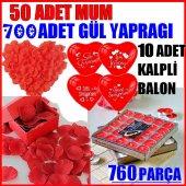 760 Parça Evlilik Teklifi Kırmızı Gül Yaprağı Kalp Balon Seti