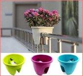 10 Adet Küpeşte Balkon Saksısı 7,5 Lt Zümrüt Çiçek Saksısı