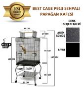Best Cage P913 Sehpalı Papağan Kafesi 53x53x130 Cm. Antik Silver