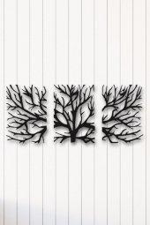 Angemiel Home Ağaç Üçlü Metal Duvar Tablosu