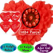 Evlilik Teklifi Romantik Gül Yaprakları Seti 1024 Parça