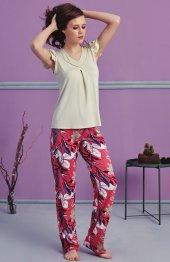 çiçek Desen Detaylı Pijama Takımı Bb 1082