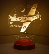 3d Led Lamba 3 Boyutlu Uçak Kişiye Özel Hediye Gecelambası